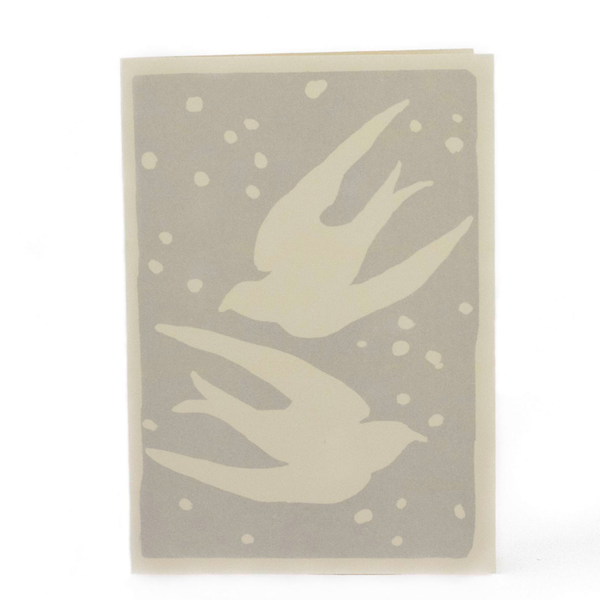Cambridge Imprint Card Birds Grey