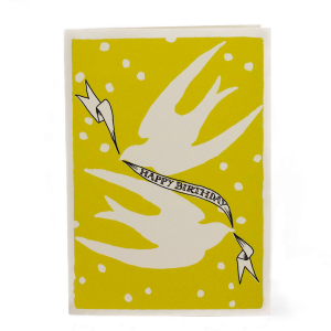 Cambridge Imprint Card Birthday Birds Yellow