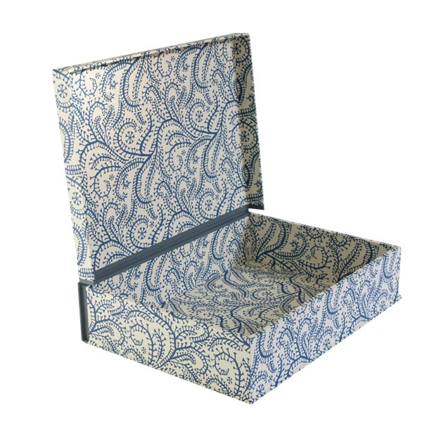 A4 Box File Seaweed Paisley Prussian Blue by Cambridge Imprint