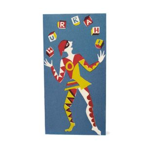 Cambridge Imprint Long Cards Juggler Hurrah! Red, Yellow and Blue