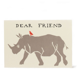 Cambridge Imprint Card Dear Friend Rhinoceros