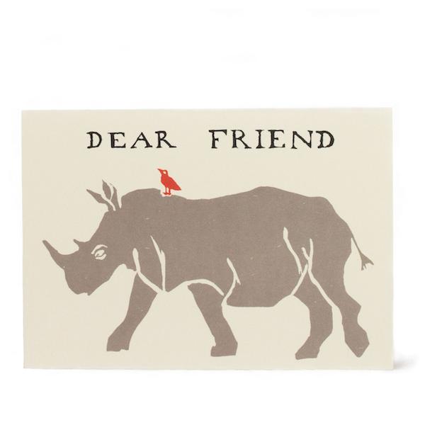 Cambridge Imprint Card Dear Friend Rhinoceros
