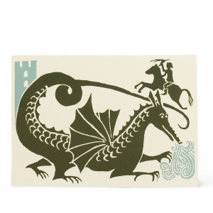 Cambridge Imprint Card Dragon Green and Turquoise
