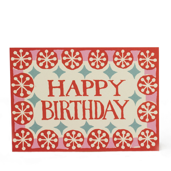 Happy Birthday Patterned Card in Coral, Pink and Turquoise by Cambridge Imprint