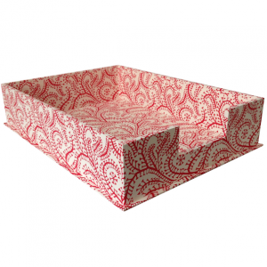 A4 Letter Tray Seaweed Paisley Crimson by Cambridge Imprint