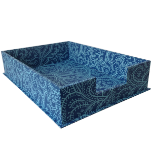 A4 Letter Tray Seaweed Paisley Cyanotype by Cambridge Imprint