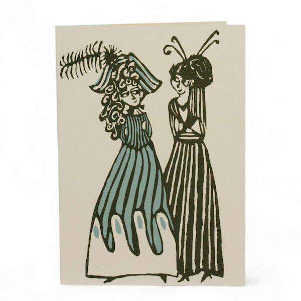 Cambridge Imprint Card Ladies in Hats Green and Turquoise