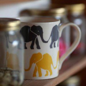 Cambridge Imprint Mug Elephants Grey and Yellow