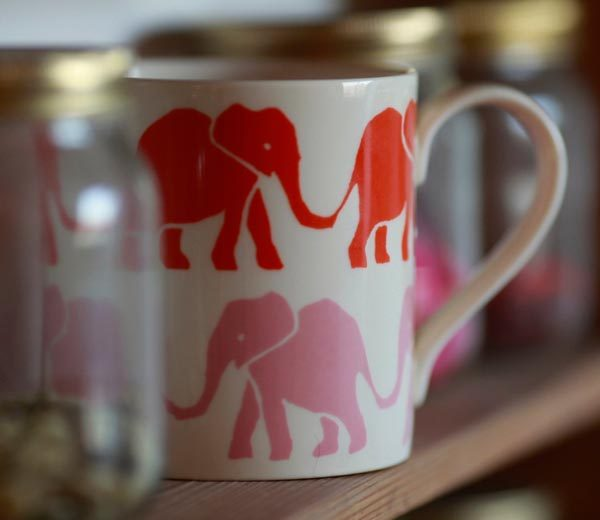Cambridge Imprint Mug Elephants Pink and Orange