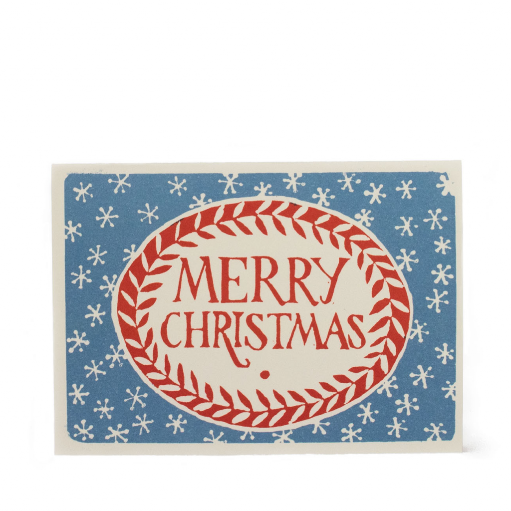 Cambridge Imprint Merry Christmas card Blue and Red