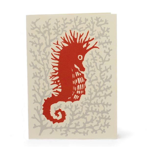 Cambridge Imprint Card Seahorse grey and coral