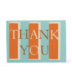 Cambridge Imprint Card Thank You Turquoise and Orange