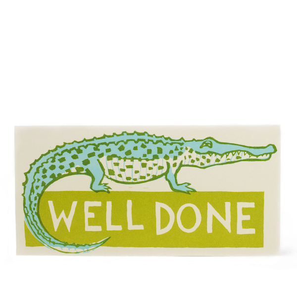 Cambridge Imprint Long Card Well Done Crocodile