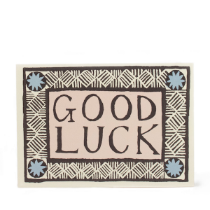 Cambridge Imprint Card Good Luck Coffee, Pink and Sky Blue