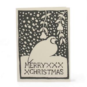 Cambridge Imprint Card Merry Christmas Partridge charcoal