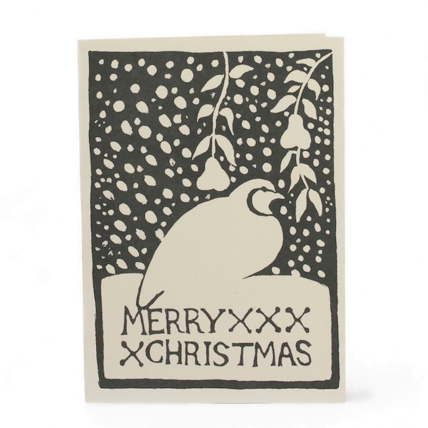 Cambridge Imprint Card Merry Christmas Partridge charcoal