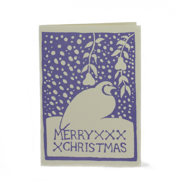 Cambridge Imprint Card Merry Christmas Partridge Blue