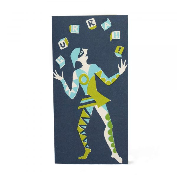 Juggler Hurrah! Card in Green, Turquoise and Navy by Cambridge Imprint