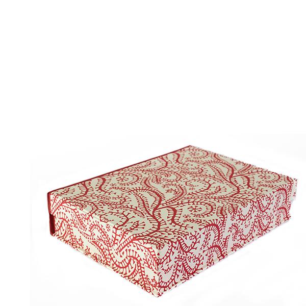 A5 Box File Seaweed Paisley Crimson by Cambridge Imprint