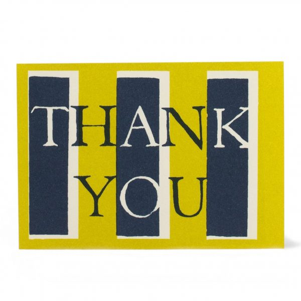 Cambridge Imprint Card Thank You Yellow and Navy