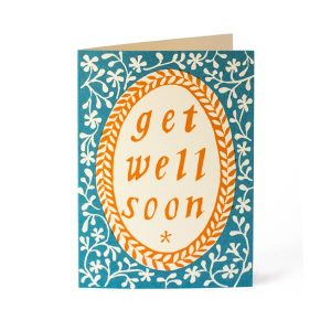 Cambridge Imprint Card Get Well Soon French Turquoise and Orange