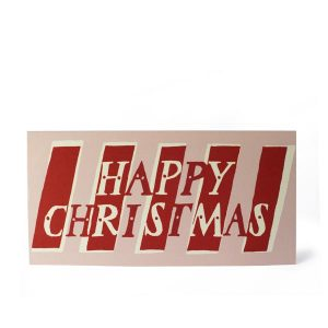 Cambridge Imprint Card Happy Christmas Red and Pink