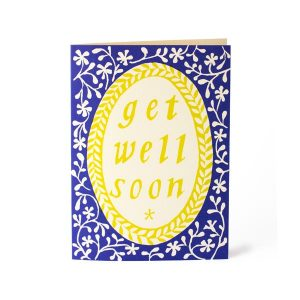 Cambridge Imprint Card Get Well Soon French Ultramarine and Acid Yellow