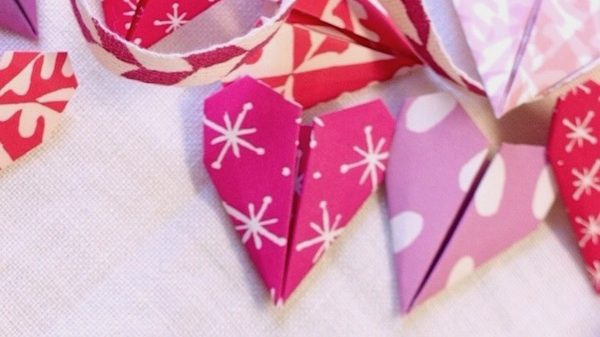 Cambridge Imprint Origami heart bunting