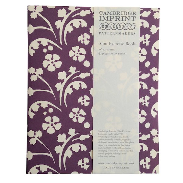 Cambridge Imprint Slim Exercise Book in Wild Flowers Violet