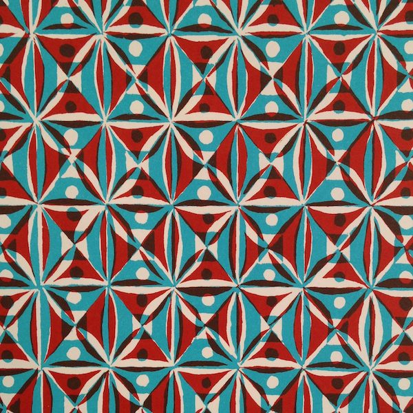 Cambridge Imprint Kaleidoscope Patterned Paper in Brown and Turquoise