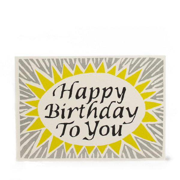 Happy Birthday To You in Grey, Black and Yellow by Cambridge Imprint