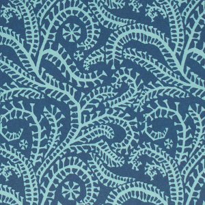 Cambridge Imprint Seaweed Paisley Patterned Paper in Cyanotype