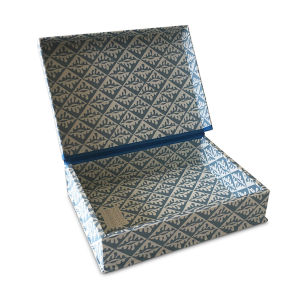 A5 Box File Oak Leaves Blue by Cambridge Imprint