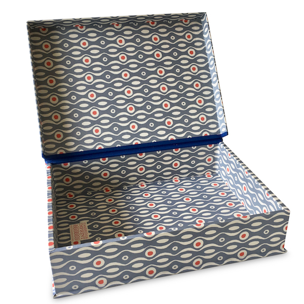 A4 Box File Persephone Cornflower and Red by Cambridge Imprint