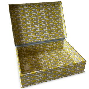 A4 Box File Smocking Yellow and Grey by Cambridge Imprint