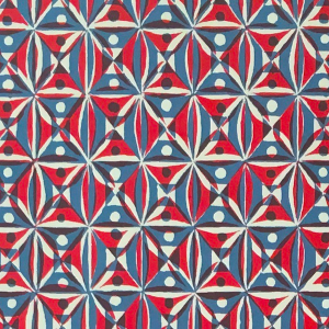Cambridge Imprint Kaleidoscope Patterned Paper in Red and Blue