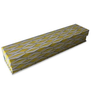 Pen Box covered Smocking Yellow and Grey patterned paper by Cambridge Imprint