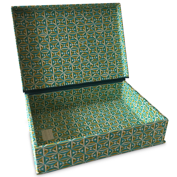 A4 Box File Kaleidoscope Yellow and Turquoise by Cambridge Imprint