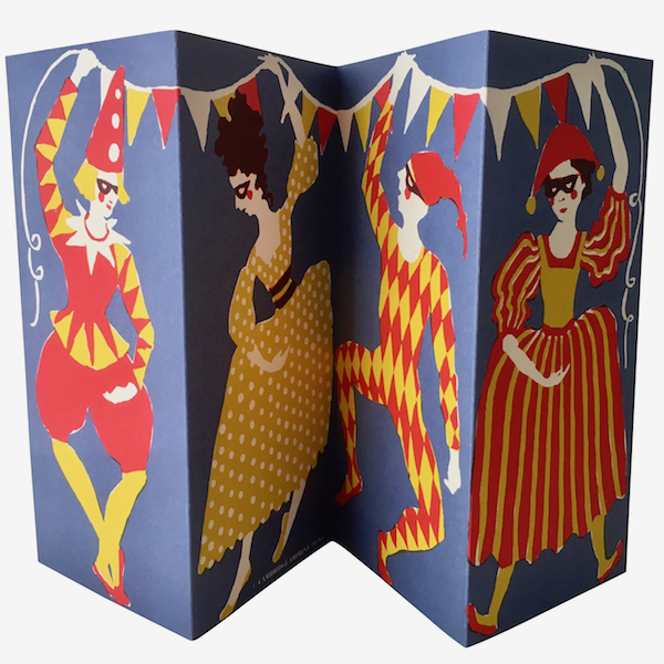 Double-sided Concertina Commedia Dell'Arte Card by Cambridge Imprint