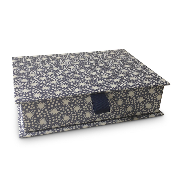 Cambridge Imprint Postcard Box covered in Animalcules Patterned Paper
