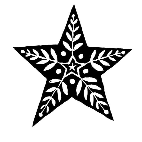 Cambridge Imprint Star with Leaves Printing Block