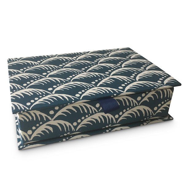 Cambridge Imprint Postcard Box covered in Wave Patterned Paper