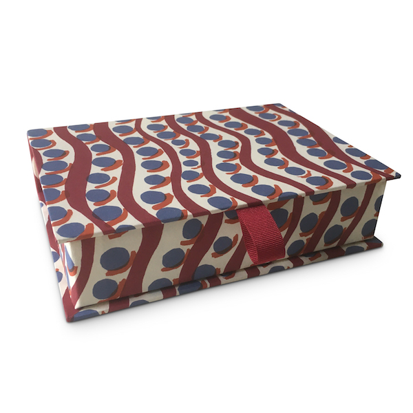 Cambridge Imprint Postcard Box covered in Charleston Scumble Patterned Paper