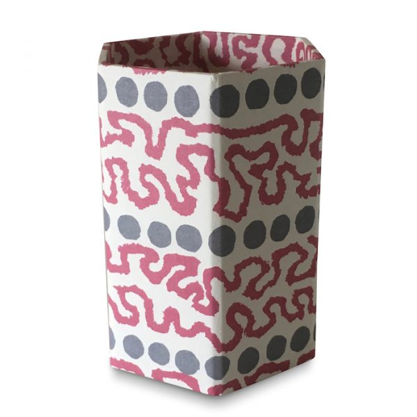 Pencil Pot covered in Charleston Meander Patterned Paper by Cambridge Imprint