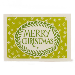 Merry Christmas Card in Green by Cambridge Imprint