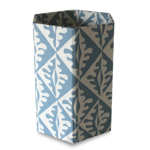Pencil Pot covered in Oak Leaves Patterned Paper by Cambridge Imprint