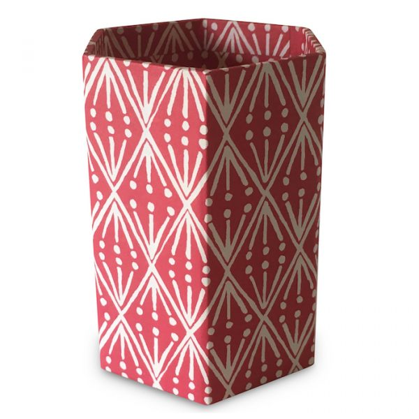 Pencil Pot covered in Selvedge patterned paper by Cambridge Imprint