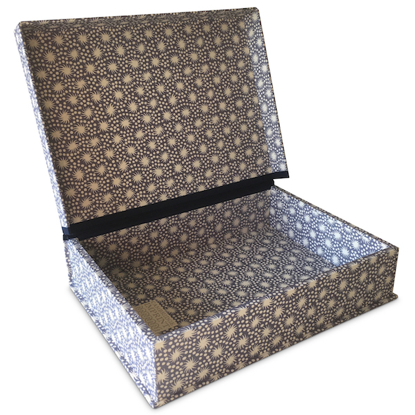 A5 Box File covered in Animalcules Dusk patterned paper by Cambridge Imprint