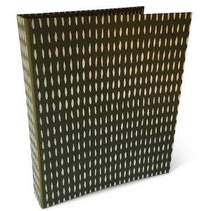Ring Binder covered in Seed Olive patterned paper by Cambridge Imprint