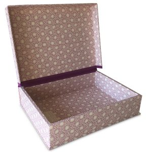 A5 Box File covered in Animalcules Cupboard Pink patterned paper by Cambridge Imprint